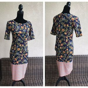 LuLaRoe Julia Dress Blue Orange Green Floral NEW S
